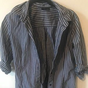 New York and Co Blue Striped Shirt